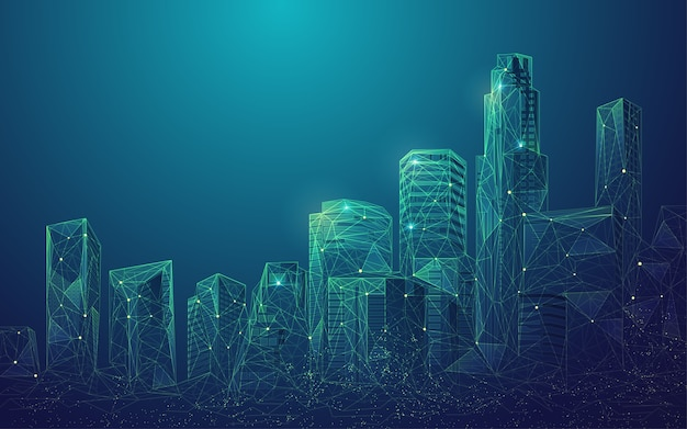 Konzept der digitalen stadt oder der intelligenten stadt, grafik von polygonalen gebäuden mit futuristischem element