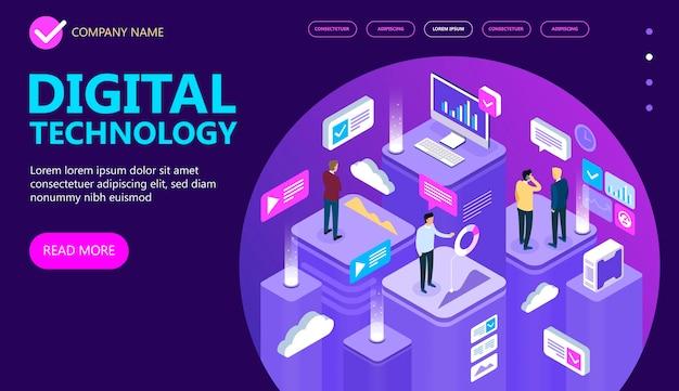 Konzept der digitalen technologie. geschäftsleute, desktop, grafiken, statistiken, symbole. isometrisches flaches 3d-design. vektorillustration.