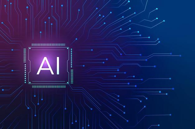 Konzept der digitalen transformation des ai-technologie-mikrochiphintergrundvektors