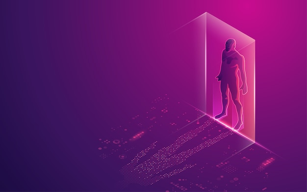 Konzept der digitalen transformation oder künstlichen intelligenz (ki), digitaler mensch mit futuristischem element als schatten