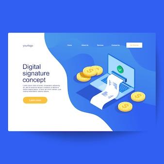 Konzept der digitalen unterschrift, geprüftes dokument im isometrischen stil. kann für web-banner, infografiken und heldenbild verwendet werden