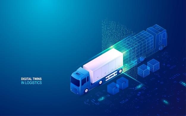 Konzept der digitalen zwillinge in der logistik, containerwagen mit technologieelement