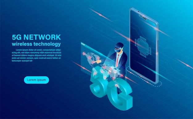 Konzept der drahtlosen technologie des fahnen-5g-netzes