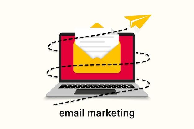 Konzept der e-mail-marketing-designkampagne. senden von e-mails von ihrem computer. e-mail-marketing-kampagne. banner-newsletter-marketing. e-mail-umschlag auf laptop-bildschirm. e-mails an abonnenten senden