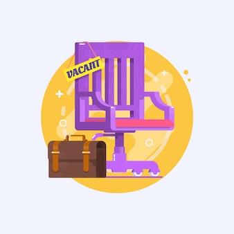 Konzept der einstellung und rekrutierung von unternehmen. zusammensetzung mit bürostuhl und einem zeichen frei. vektor-illustration