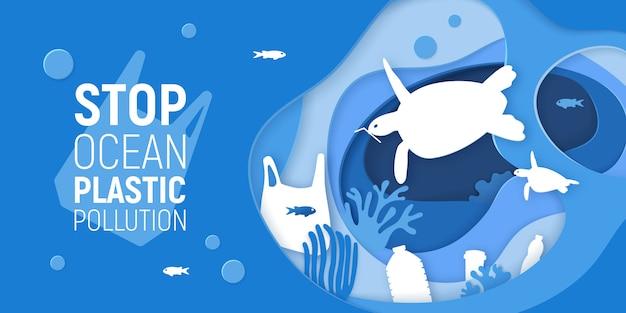 Konzept der endozean-plastikverschmutzung. papier schnitt unterwasserhintergrund mit plastikabfall, schildkröten und korallenriffen.