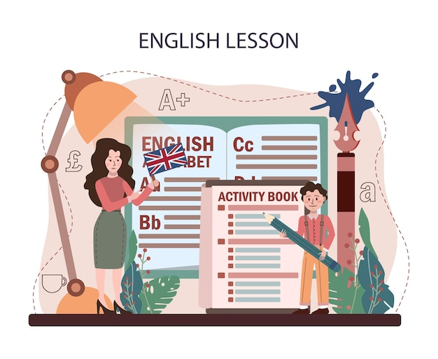 Konzept der englischen klasse. lernen sie fremdsprachen in der schule. grammatik