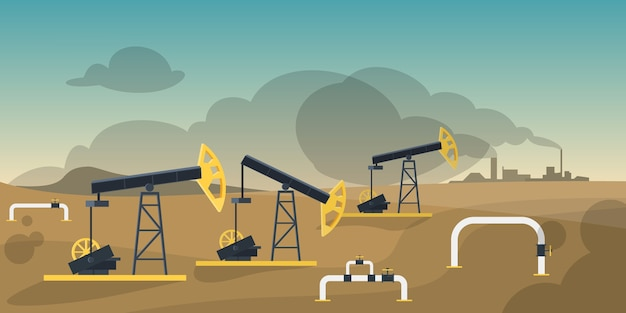 Konzept der erdölproduktionsindustrie. ölbohrturmkonstruktion