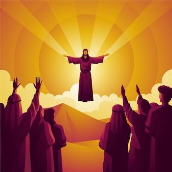Konzept der erlösung der menschheit am himmelfahrtstag