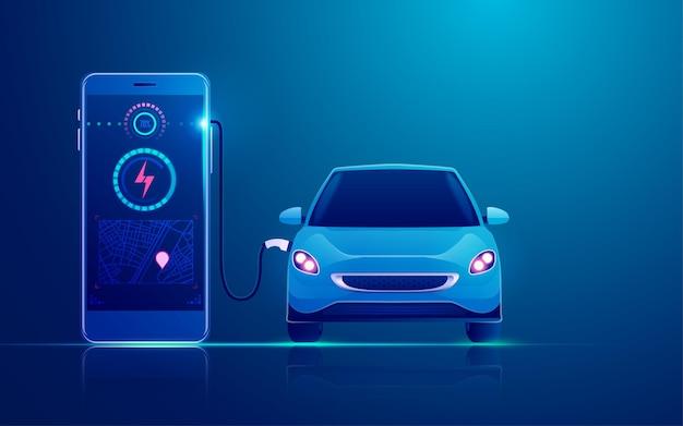 Konzept der ev-ladestationsanwendung auf dem mobilen aufladen des elektroautos durch das mobiltelefon
