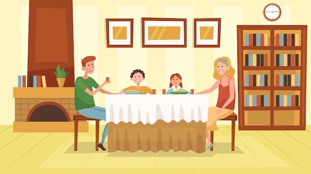 Konzept der familienzeit. familie hat ein gemeinsames abendessen im wohnzimmer zu hause in der nähe von kamin. die menschen kommunizieren, haben spaß und verbringen zeit miteinander.