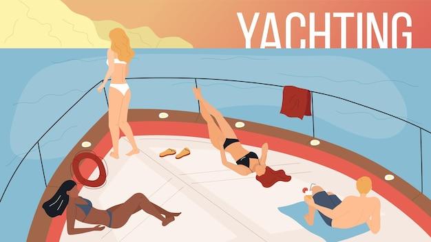 Konzept der ferien auf yacht, seereise und freundschaft. glückliche leute, die eine party auf yachtfähre machen, mann und frauen trinken alkohol, sonnenbaden auf der sonne. cartoon flat style. vektor-illustration.