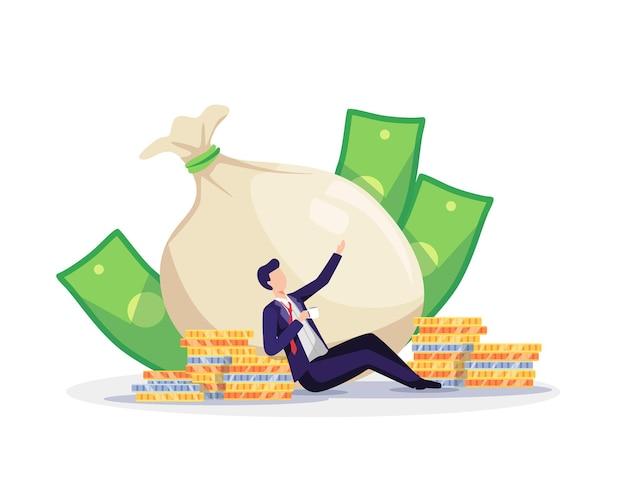 Konzept der finanziellen freiheit. erfolgreicher geschäftsmann, der sich mit kaffee und viel geld entspannt. vektorillustration in einem flachen stil