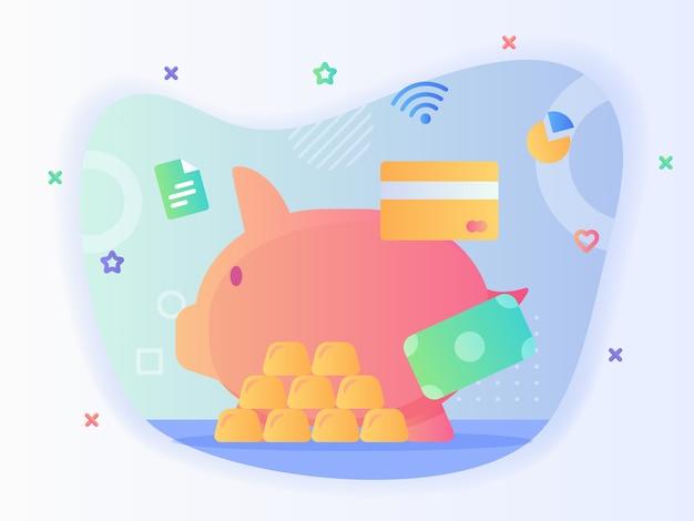 Konzept der finanzinvestition sparschwein kreditkartengeld gold mit flachem stil.