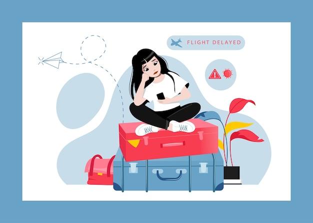 Konzept der flugverspätung oder stornierung, änderung von plänen. müde, ratlos und verärgert über flugverspätung mädchen sitzt auf gepäck und wartet auf abflug am flughafen