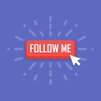 Konzept der follow-me-schaltfläche. vektor-illustration.
