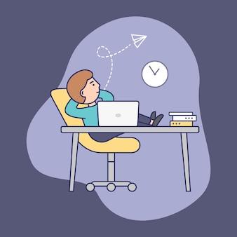 Konzept der frist, laufzeit und zeitverschwendung. zögernder selbstbewusster geschäftsmann