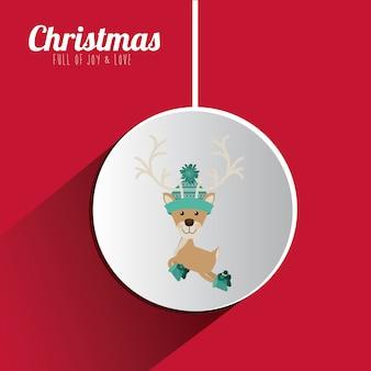 Konzept der frohen Weihnachten mit Dekorationsikonen