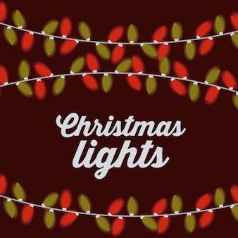Konzept der frohen Weihnachten mit Dekorationslichterdesign