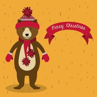 Konzept der frohen Weihnachten mit nettem Tierdesign