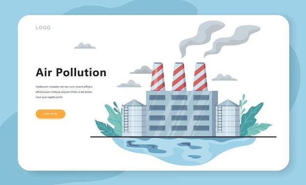 Konzept der gefahr von luftverschmutzung und schmutziger umwelt. industrietechnologie und herstellung verarbeiten giftigen rauch und verschmutzen luft und wasser. ökologie in gefahr idee.