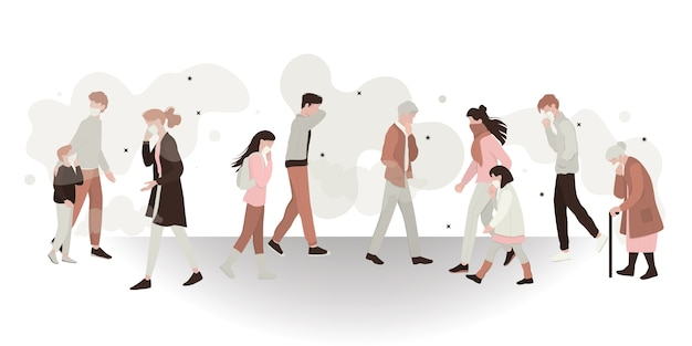 Konzept der gefahr von luftverschmutzung und schmutziger umwelt. menschen, die maske tragen und giftigen rauch einatmen. ökologie in gefahr idee. illustration