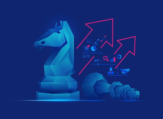 Konzept der geschäftsstrategie oder des risikomanagements, grafik von low-poly-schachbrettfiguren mit geschäftssymbolen