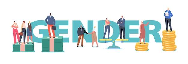 Konzept der geschlechterdiskriminierung und der geschlechterungleichheit und des ungleichgewichts. männliche und weibliche charaktere stehen auf waage, geschäftsleute ungleiches gehalt, feminismus-poster, banner, flyer. cartoon-vektor-illustration