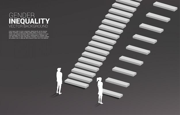 Konzept der geschlechterungleichheit im geschäft und hindernis im frauenkarrierepfad