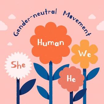 Konzept der geschlechtsneutralen bewegung blüht
