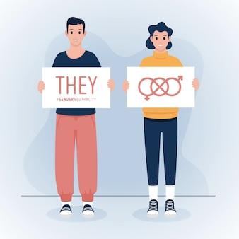 Konzept der geschlechtsneutralen identitätsbewegung