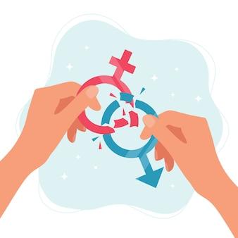 Konzept der geschlechtsnormen. hände, die geschlechtssymbole halten, die in stücke brechen.