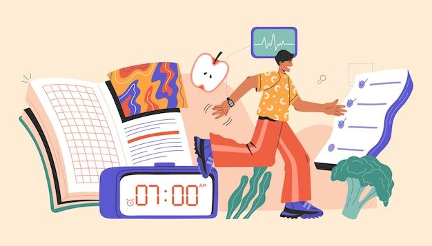 Konzept der gesunden lebensgewohnheiten, laufender mann mit symbol der täglichen routine