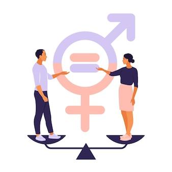 Konzept der gleichstellung der geschlechter. männer und frauen stehen auf der waage für die gleichstellung der geschlechter.