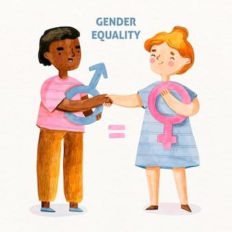 Konzept der gleichstellung der geschlechter und der diskriminierung von freundschaften
