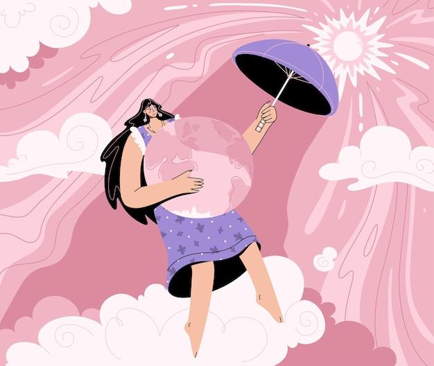 Konzept der globalen erwärmung und des klimawandels. umweltfreundliche frau, die planeten mit regenschirm von brennender sonne bedeckt.