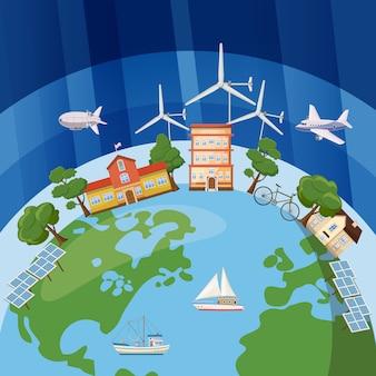 Konzept der globalen ökologie. karikaturillustration des globalen ökologievektorkonzeptes für netz