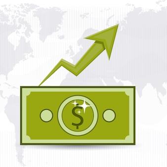 Konzept der globalen wirtschaft mit geldikonen