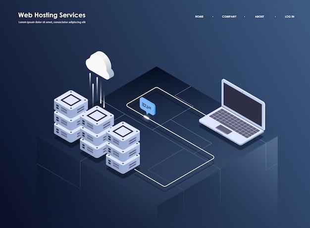 Konzept der großen datenverarbeitung, des isometrischen rechenzentrums, der vektorinformationsverarbeitung und -speicherung. kreative illustration mit abstrakten geometrischen elementen.