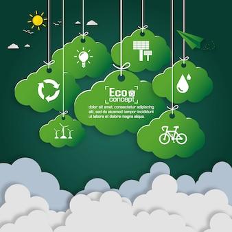 Konzept der grünen ökoerde. papierkunstentwurf