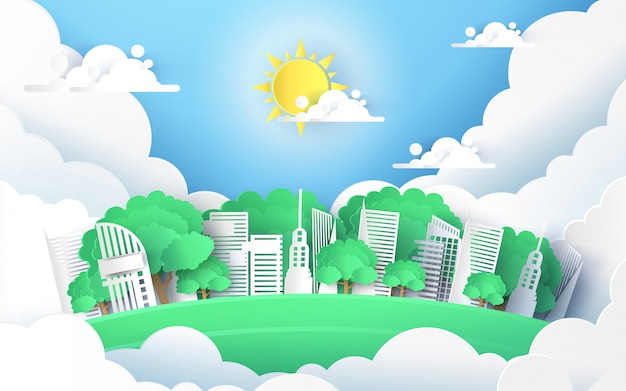 Konzept der grünen stadt und der umgebung mit dem gebäude am himmel. papierkunst und digitaler bastelstil.