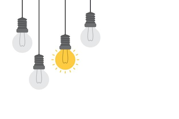 Konzept der hellen idee und des einblickes mit glühlampe.