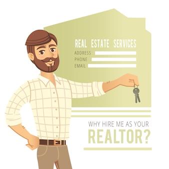 Konzept der immobiliendienstleistungen. agent zeigt ein haus.