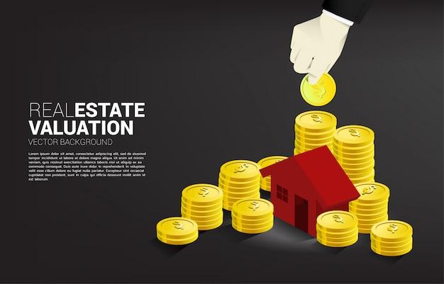 Konzept der immobilieninvestition und des immobilienwachstums.