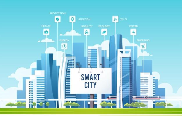 Konzept der intelligenten stadt mit verschiedenen symbolen und elementen zukunftstechnologie für das leben stadtlandschaft mit gebäuden und wolkenkratzerillustration