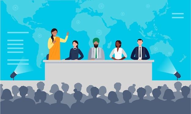 Konzept der internationalen pressekonferenz