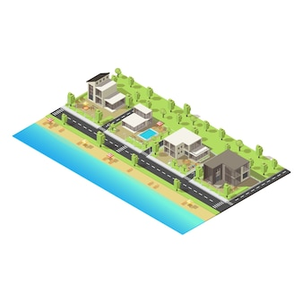 Konzept der isometrischen küstenvorstadtgebäude