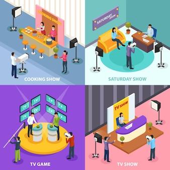 Konzept der isometrischen quizfernsehshow 2x2 mit menschlichen charakteren und inneninnenraum des fernsehstudios