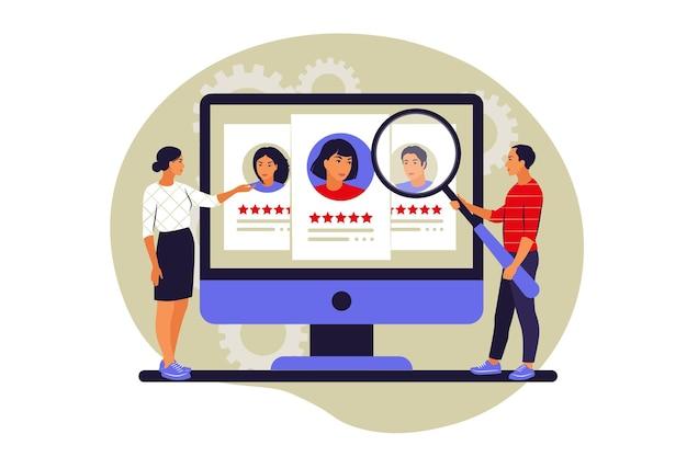 Konzept der jobsuche. vorstellungsgespräch, beschäftigungsprozess, auswahl eines kandidatenkonzepts. vektor-illustration. eben.