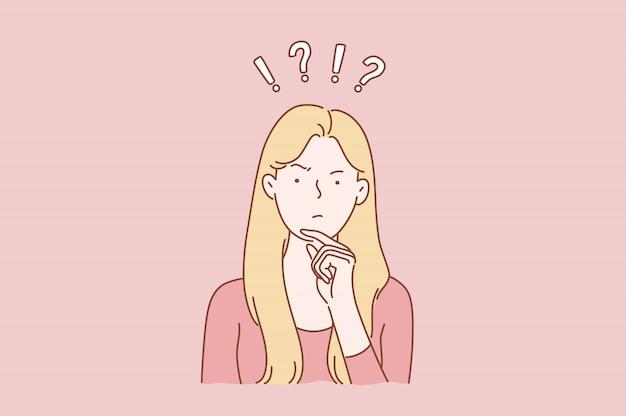 Konzept der jungen netten recht netten traumfrau oder des mädchens, unentschlossener damengedanke wählen, dilemmata zu entscheiden, probleme zu lösen, die neue ideen finden.